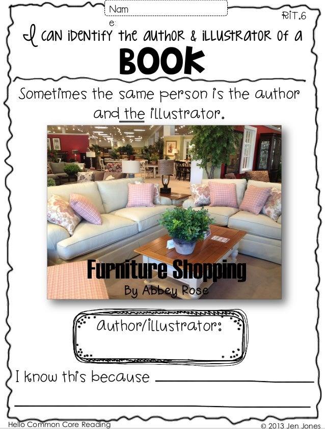 Hello Common Core Reading © 2013 Jen Jones I can identify the author & illustrator of a Book RIT.6 Author/Illustrator: I k...