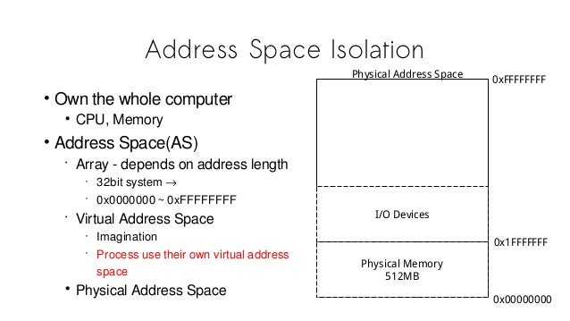 Address Space Isolation • Own the whole computer • CPU, Memory • Address Space(AS) • Array - depends on address length • 3...