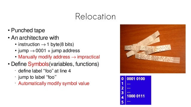 Relocation 0 1 2 3 4 5 0001 0100 … … … 1000 0111 … • Punched tape • An architecture with • instruction → 1 byte(8 bits) • ...