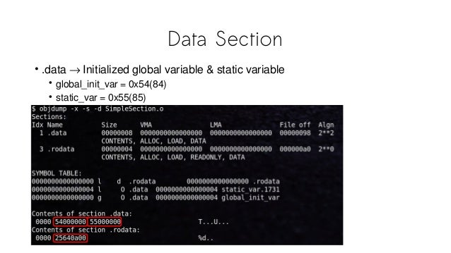 Data Section • .data → Initialized global variable & static variable • global_init_var = 0x54(84) • static_var = 0x55(85)