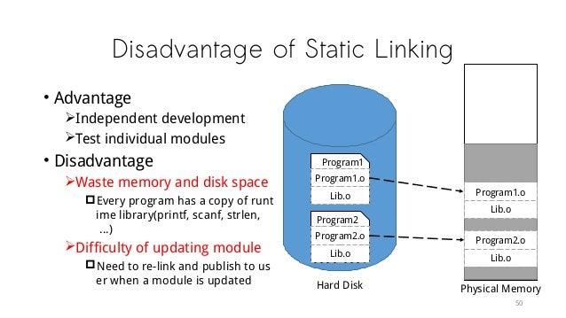 Disadvantage of Static Linking • Advantage Independent development Test individual modules • Disadvantage Waste memory ...
