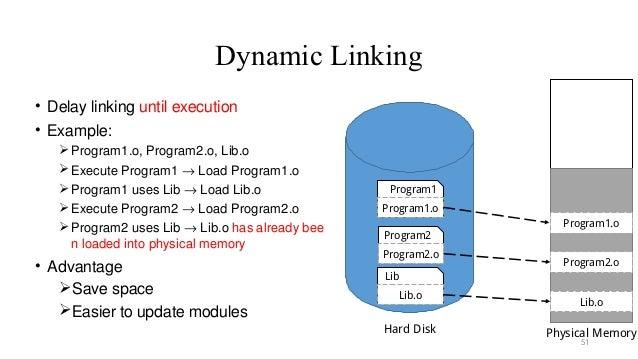 Dynamic Linking • Delay linking until execution • Example: Program1.o, Program2.o, Lib.o Execute Program1 → Load Program...