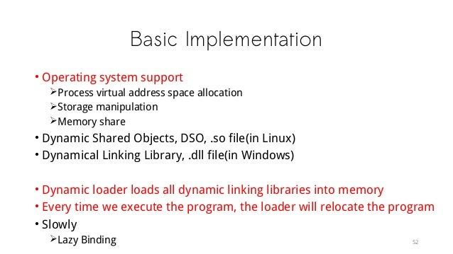 Basic Implementation • Operating system support Process virtual address space allocation Storage manipulation Memory sh...