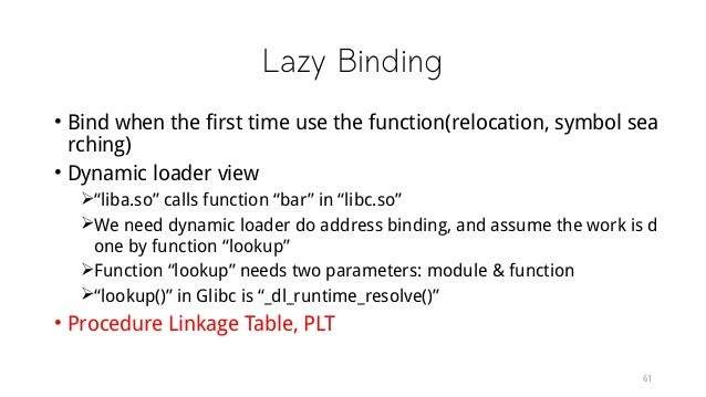 """Lazy Binding • Bind when the first time use the function(relocation, symbol sea rching) • Dynamic loader view """"liba.so"""" c..."""