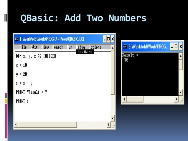 qbasic program to find the sum of five numbers