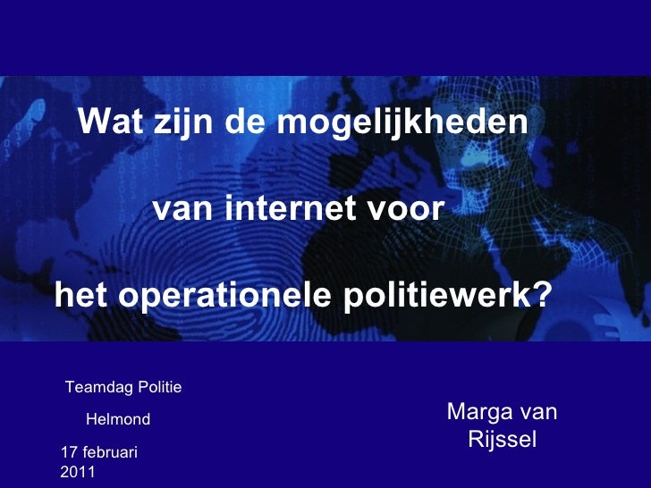 <ul>17 februari 2011  </ul><ul>Marga van Rijssel </ul><ul>Helmond </ul><ul><li>Wat zijn de mogelijkheden