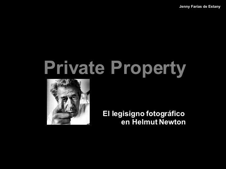 Private Property   El legisigno fotog r áfico en Helmut Newton Jenny Farías de Estany