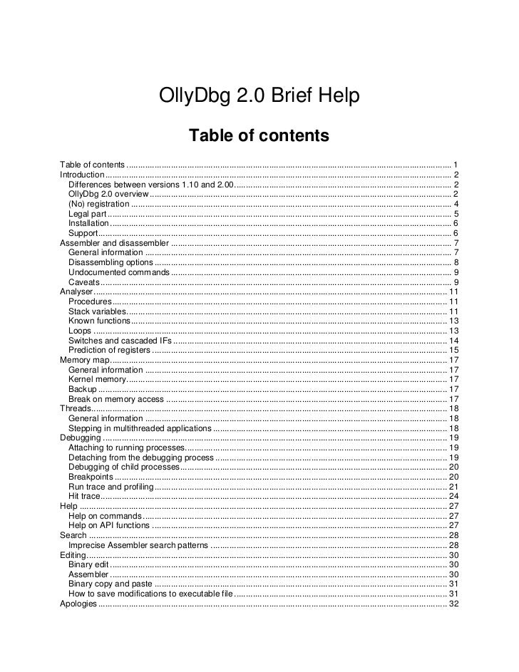 OllyDbg 2.0 Brief Help                                                     Table of contentsTable of contents ...............