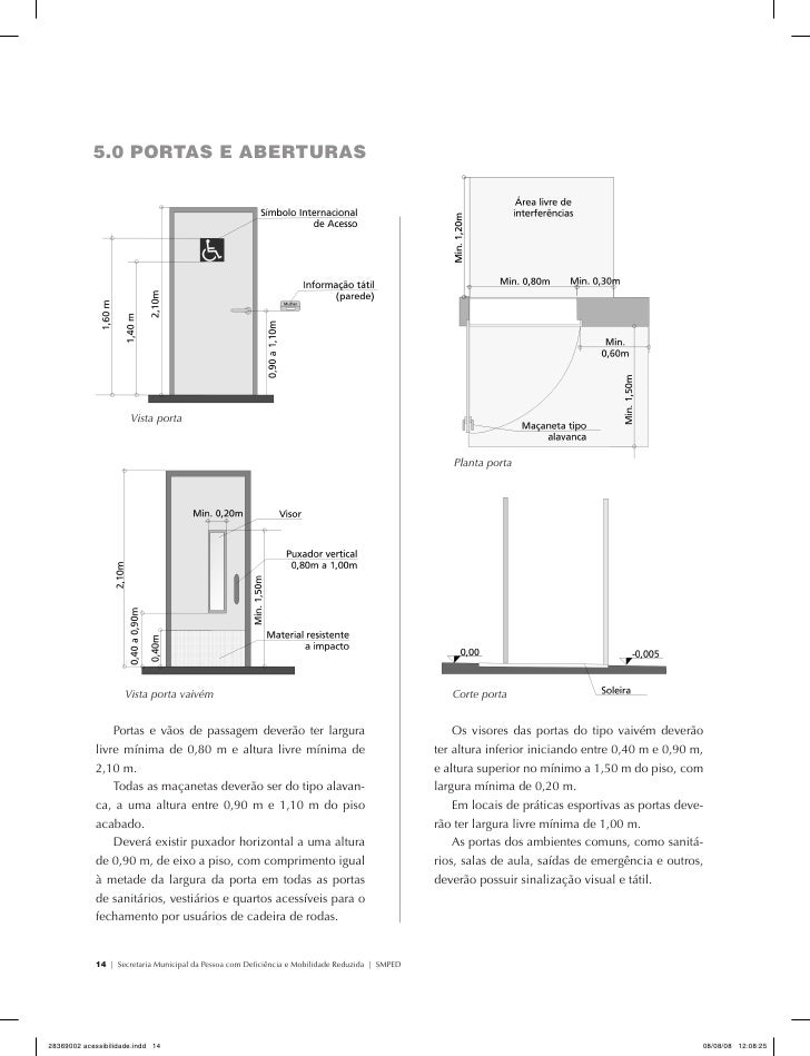 Largura Minima Porta Banheiro : Acessibilidade