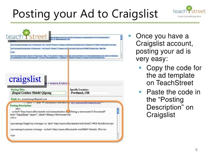 How to post your classes on Craiglist