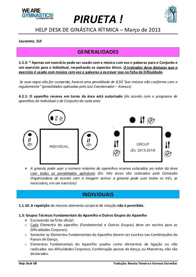 PIRUETA !          HELP DESK DE GINÁSTICA RÍTMICA – Março de 2013Lausanne, SUI                                   GENERALID...