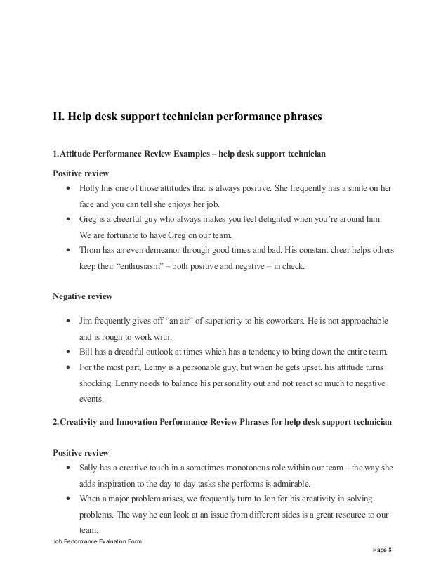 Help Desk Support Technician Performance Appraisal