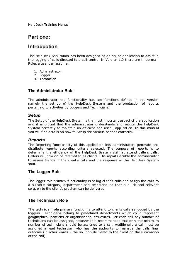 Helpdesk training manual for Help desk manual template