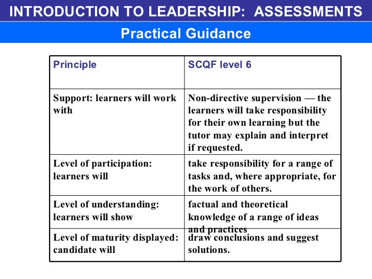 INTRODUCTION TO LEADERSHIP:  ASSESSMENTS Practical Guidance draw conclusions and suggest solutions.  Level of maturity dis...