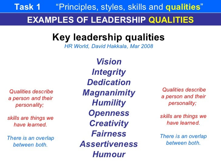 examples of good leadership qualities Here are the top 10 qualities of good leadership that set high peformance leaders apart from your every day leader and manager.