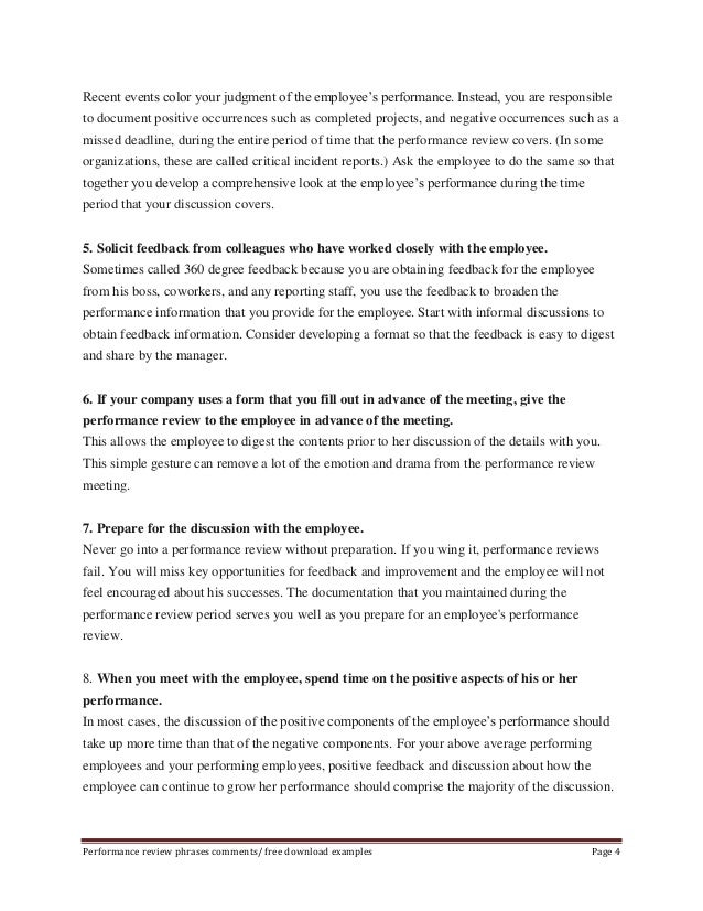 performance review phrases comments free download examples page 3 4