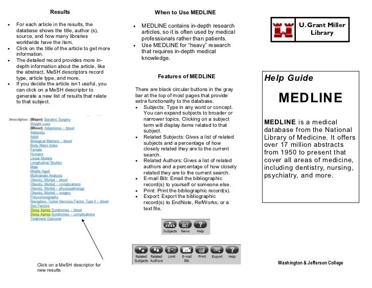 Results                                  When to Use MEDLINE   For each article in the results, the               MEDLIN...