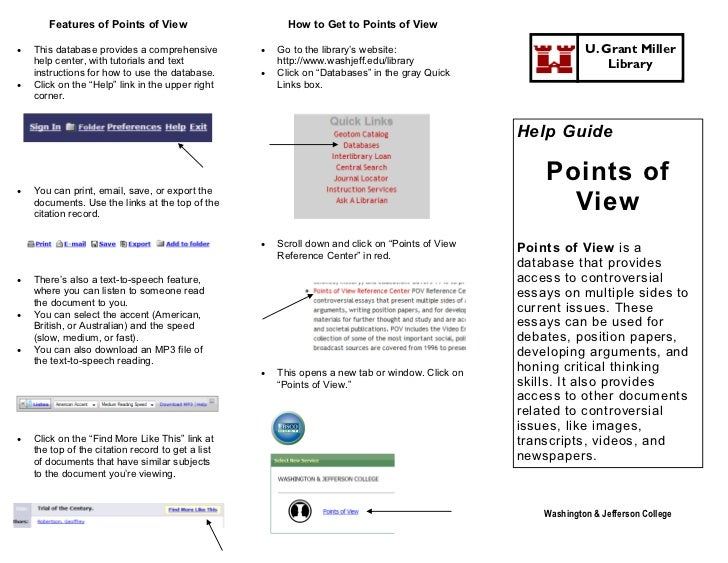 Features of Points of View                        How to Get to Points of View   This database provides a comprehensive  ...