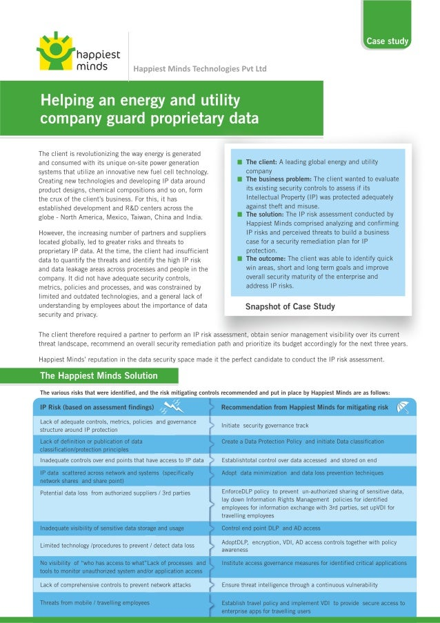 Case study: Helping An Energy And Utility Company Guard Proprietary data - Happiest Minds