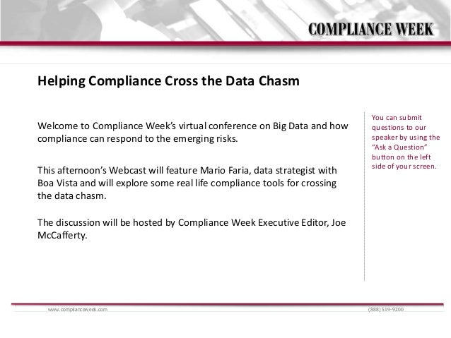 Helping Compliance Cross the Data Chasm                                                                           You can ...
