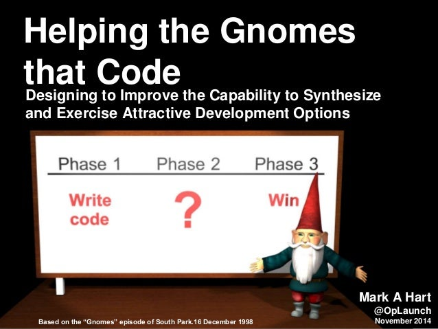 Helping the Gnomes  that Code  Designing to Improve the Capability to Synthesize  and Exercise Attractive Development Opti...