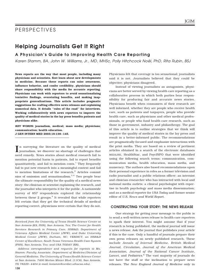 JGIM  PERSPECTIVES   Helping Journalists Get It Right A P h y s i c i a n ' s G u i d e t o I m p r o v i n g H e a l t h ...