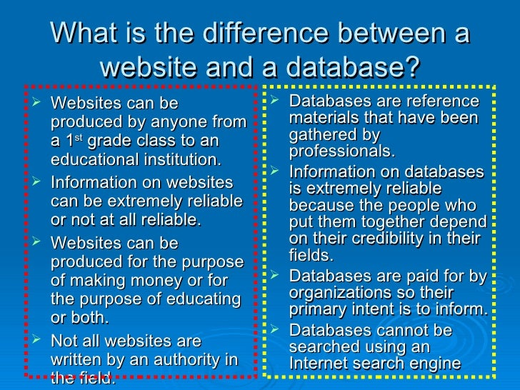 What is the difference between a website and a database? <ul><li>Websites can be produced by anyone from a 1 st  grade cla...