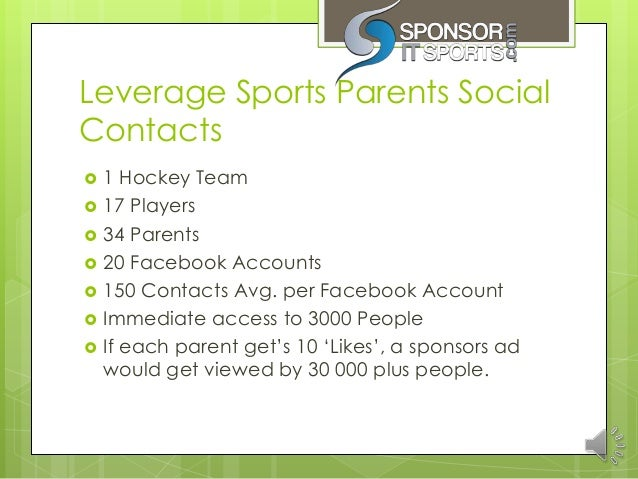 Leverage Sports Parents SocialContacts   1 Hockey Team   17 Players   34 Parents   20 Facebook Accounts   150 Contact...