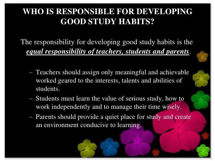 Helping students dvelop good study habits