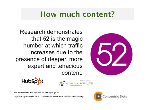 27 Research demonstrates that 52 is the magic number at which traffic increases due to the presence of deeper, more expert...