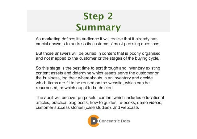 32 Step 2 Summary As marketing defines its audience it will realise that it already has crucial answers to address its cus...