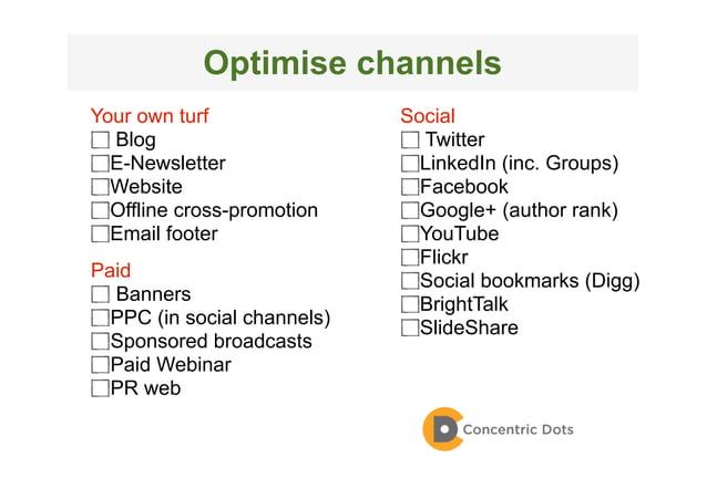 54 Outposts Your own turf Blog E-Newsletter Website Offline cross-promotion Email footer Social Twitter LinkedIn (inc. Gro...