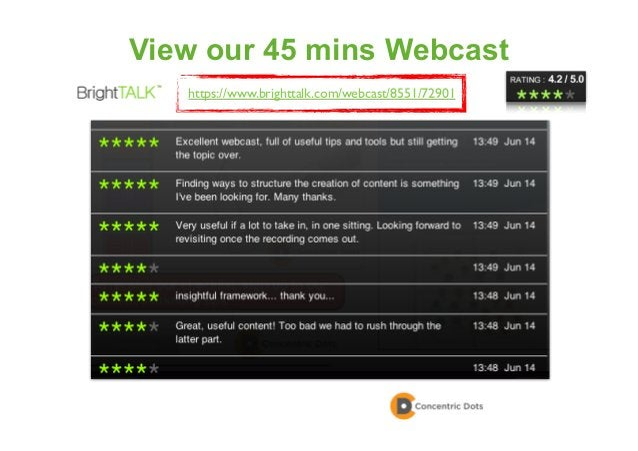 65 View our 45 mins Webcast https://www.brighttalk.com/webcast/8551/72901