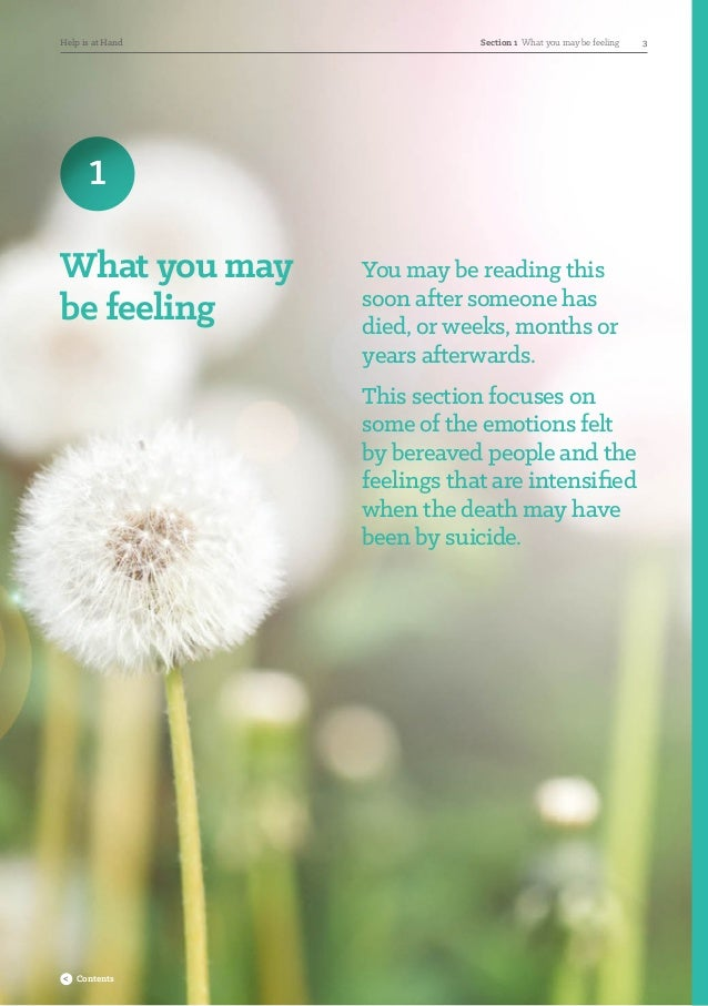 1 What you may be feeling You may be reading this soon after someone has died, or weeks, months or years afterwards. This ...