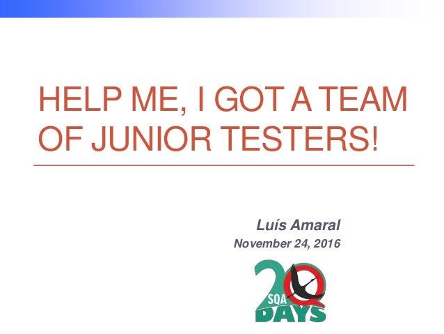 HELP ME, I GOT A TEAM OF JUNIOR TESTERS! Luís Amaral November 24, 2016