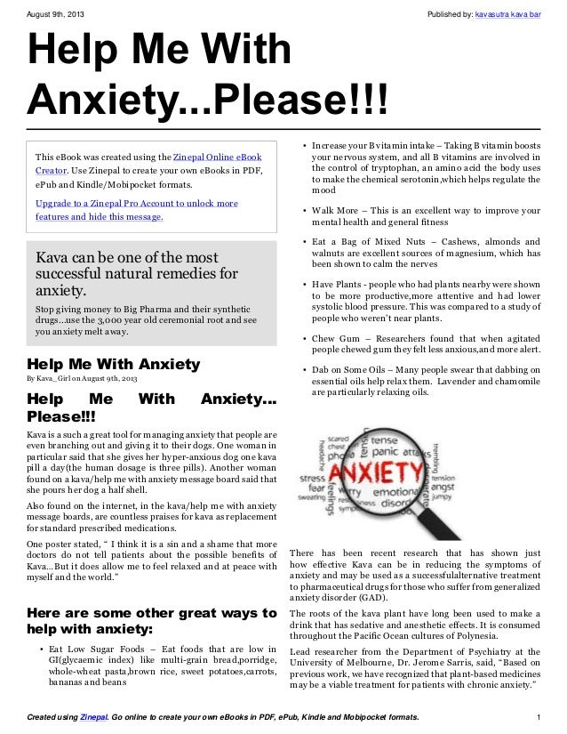Help me with anxiety   please!