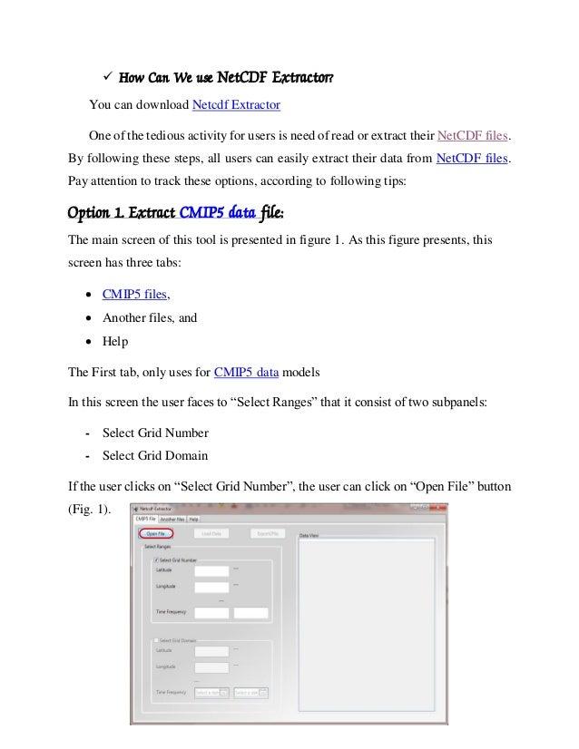 Help netcdf extractor v1 0