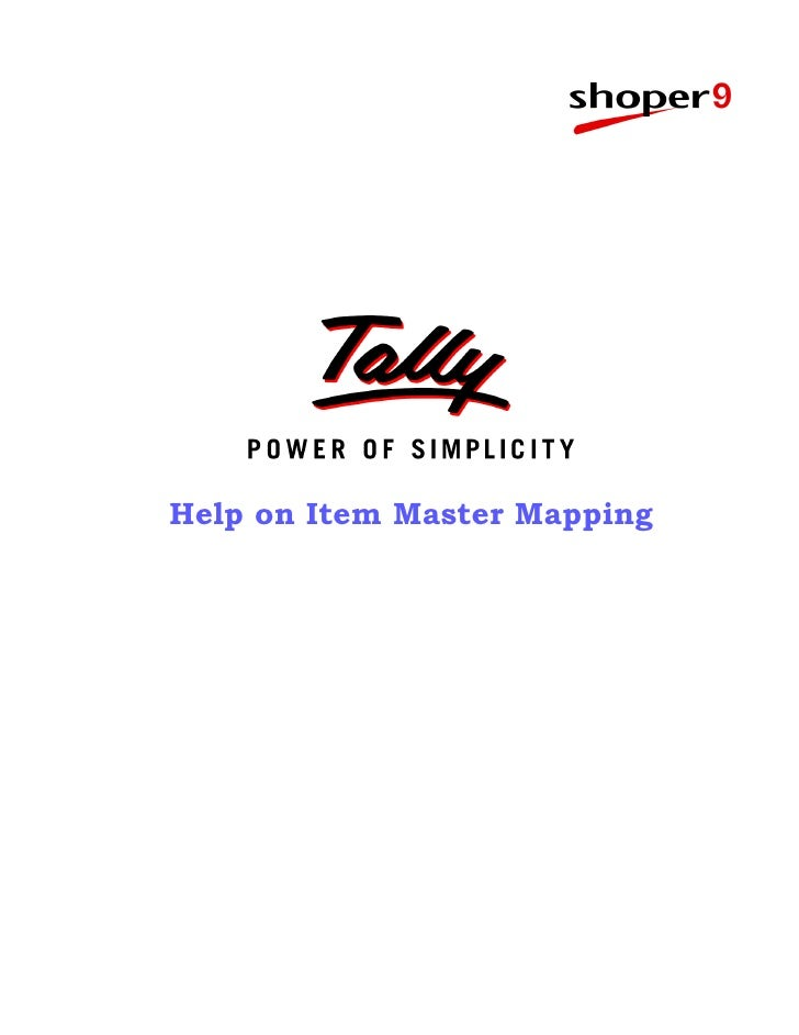 Help on Item Master Mapping