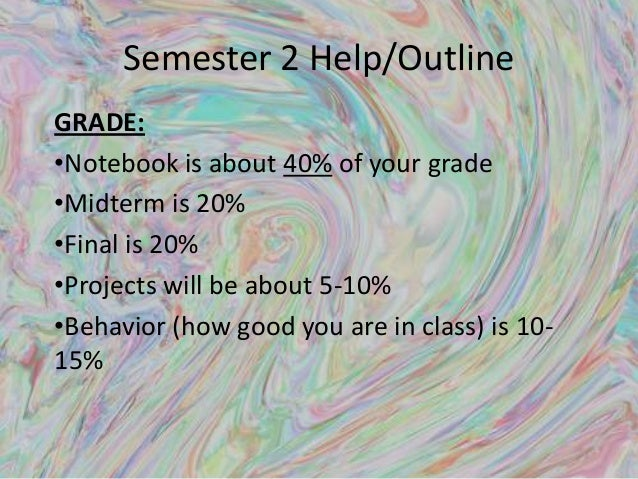 Semester 2 Help/Outline GRADE: •Notebook is about 40% of your grade •Midterm is 20% •Final is 20% •Projects will be about ...