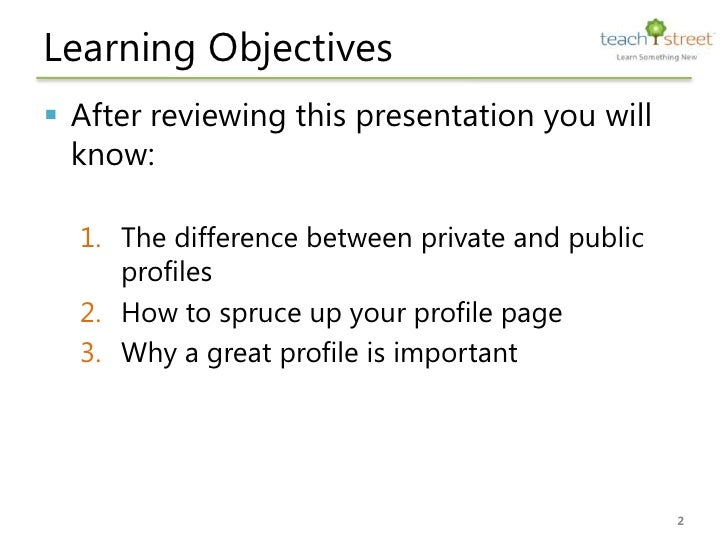 How to spruce up your TeachStreet profile Slide 2