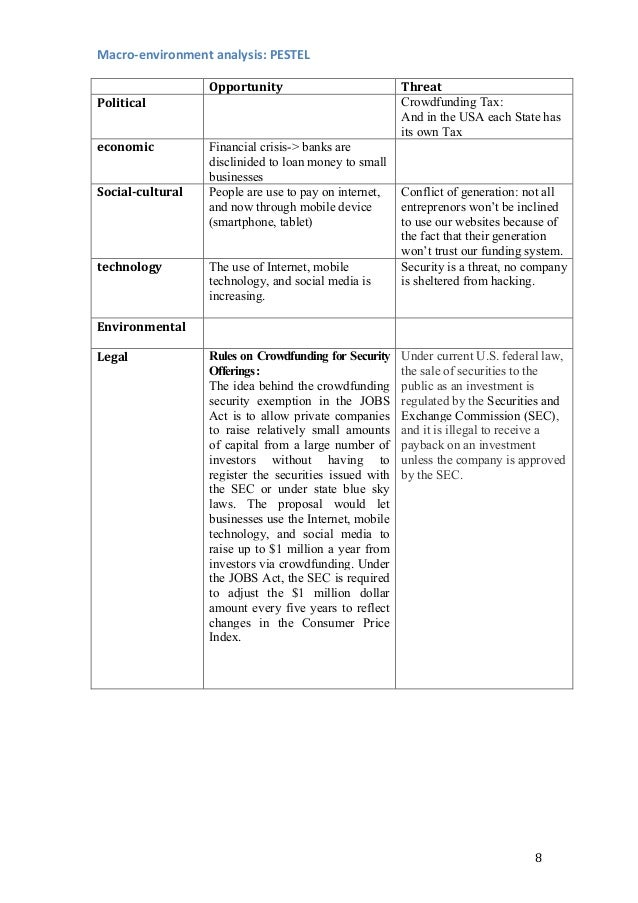 8   Macro-‐environment  analysis:  PESTEL         Opportunity   Threat   Political   Crowdfunding Tax...