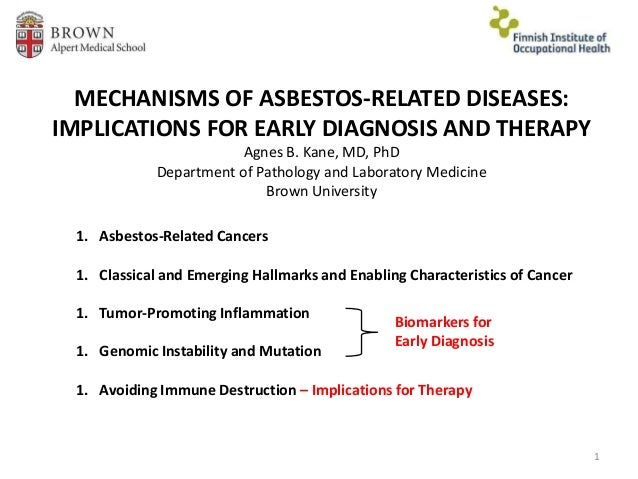 MECHANISMS OF ASBESTOS-RELATED DISEASES: IMPLICATIONS FOR EARLY DIAGNOSIS AND THERAPY Agnes B. Kane, MD, PhD Department of...