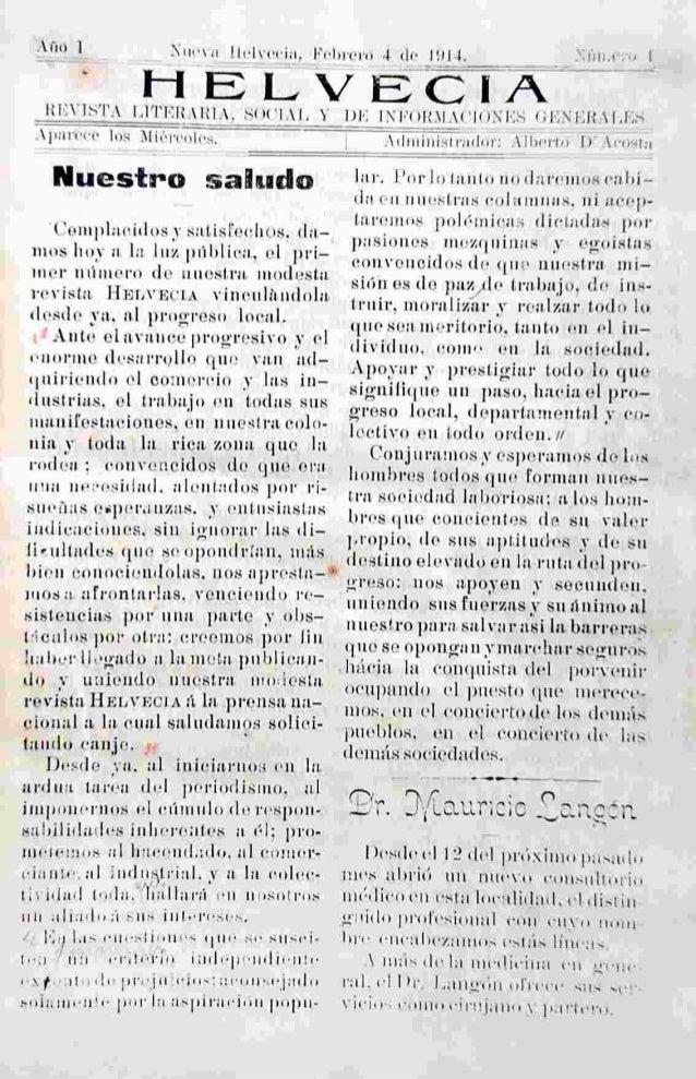 Helvecia edicion numero 1  4 feb.1914