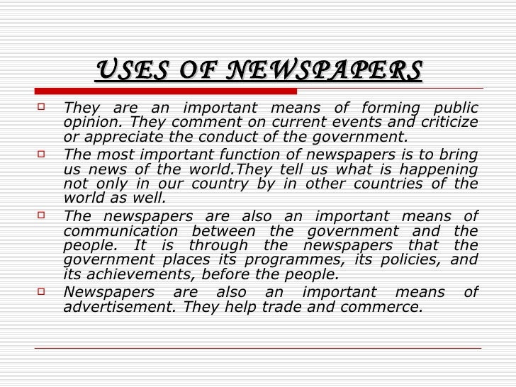 Essay On News Internet The Death Of Newspapers Slideshare Uses Of Newspapers