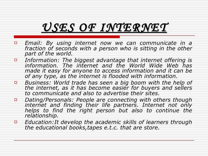 short essay on importance of internet Short essay on science , importance of science speech , essay on advantages and disadvantages of science science has made this world a global village by the inventions of internet, telephone and computer.