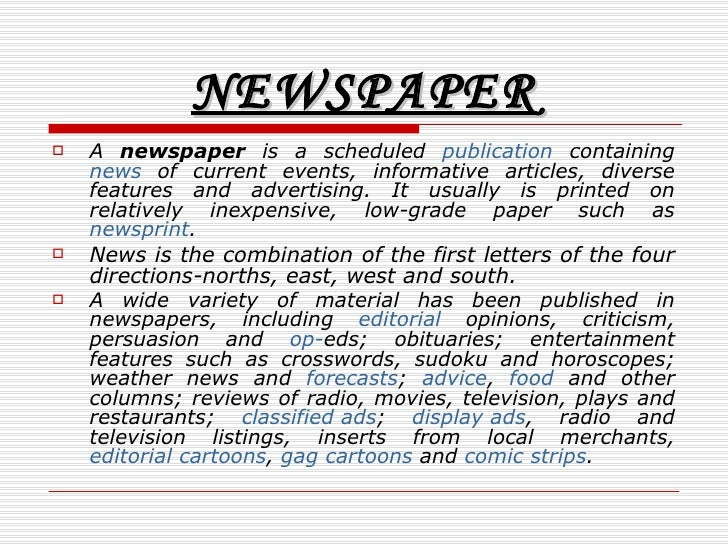 Essay Examples English Newspaper  Example Of A Thesis Statement In An Essay also Proposal Essay Topic List Internet The Death Of Newspapers How To Write A Proposal Essay