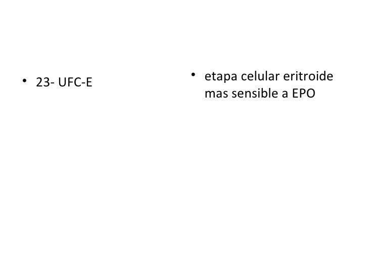 <ul><li>23- UFC-E  </li></ul><ul><li>etapa celular eritroide mas sensible a EPO   </li></ul>