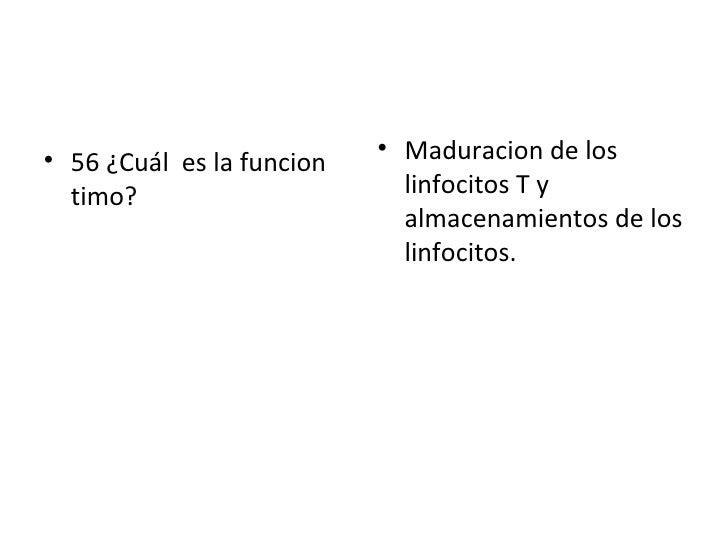 <ul><li>56 ¿Cuál  es la funcion  timo? </li></ul><ul><li>Maduracion de los linfocitos T y almacenamientos de los linfocito...