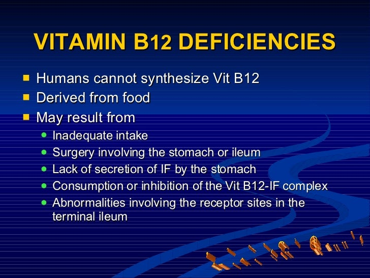 <ul><li>Humans cannot synthesize Vit B12 </li></ul><ul><li>Derived from food </li></ul><ul><li>May result from </li></ul><...