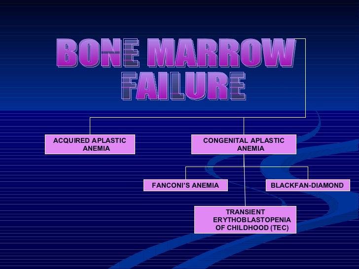 BLACKFAN-DIAMOND  ACQUIRED APLASTIC ANEMIA BONE MARROW FAILURE  FANCONI'S ANEMIA CONGENITAL APLASTIC ANEMIA TRANSIENT ERYT...